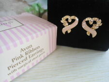 DAINTY! Vintage US AVON PINK ENAMEL RIBBON  Earrings Jewelry 1996 Collection