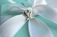 """Tiffany & Co Silver Picasso LARGE Diamond Loving Heart 18"""" Necklace w/Packaging"""
