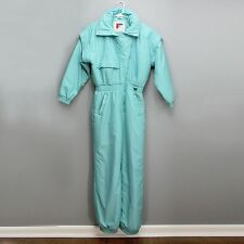 Vtg Forté Ladies Size 12 Snow Suit Teal Aqua Winter Snow One Piece Snowsuit Bib