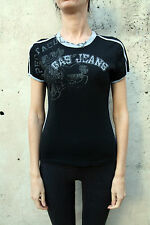 GAS Jeans Collection Black Ladies Casuals T Shirt Top Stretch Slim Fit L NICE