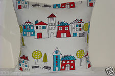 "16"" NEW CUSHION COVER NURSERY KIDS SCHOOL DAYS QUIRKY PRINT COTTON RED WHITE"