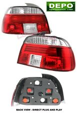 1996-2000 BMW E39 E-39 5-Series RED CLEAR TAIL LIGHTS DEPO 525i 540i 2pcs Set