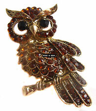 Vintage Style Golden Amber Crystal Wise Owl Brooch Mothers Day Gift New Broach