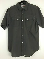 SPLIT Clothing men's Solid Gray Short Sleeve Pearl Snap Shirt MX  motocross  L