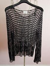 Haut femme Wallis noir crochet dentelle look through haut à manches longues pull taille 14/M
