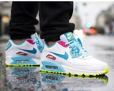 New Nike Air Max 90 Running Shoes White Blue 345017-123 Youth SZ 5.5 Y Womens 7