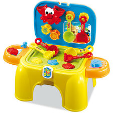 CHILDRENS SAND & WATER PLAY TABLE BUCKET SPADE CARRY CASE & CHAIR STOOL 008-802