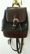 Black/Brown Leather Brighton Backpack Style Purse Croc Silver Buckle