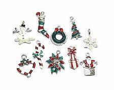 Christmas Enamel Charms - Set of 10 - Tree Santa Candy Cane Snowflake Snowman