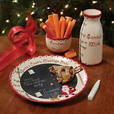 KIDS Christmas Eve COOKIES FOR SANTA Reindeer Plate Milk Holiday 3-Piece Set NEW