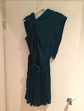 Stunning LANVIN Ete 2011 Teal Pleated Draped Dress w/ Floral Detail & Belt Sz 36