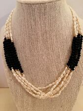 "Fresh Water Pearl And Black Onyx 5row Necklace &14k YG Bead Accent 18"" Long"