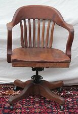ANTIQUE SOLID QUARTERSAWN OAK BANK OF ENGLAND DESK CHAIR