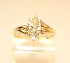 VINTAGE 10K YELLOW GOLD SMALL 16 DIAMOND 3 ROW CLUSTER RING SIZE 7.5