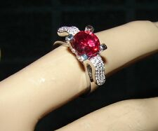 SIZE 6 - 2 CARAT RED RUBY & WHITE TOPAZ ART DECO  RING .925 STERLING SILVER