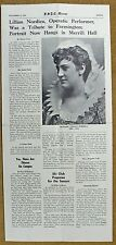 Lillian Nordica Operatic Performer From Farmington ME Special Insert Info/Photo