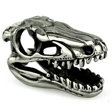Velociraptor Skull Dinosaur Genuine Sterling Silver Solid Charm OHM Bead AAA044