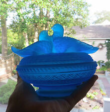 Vintage Westmoreland Glass Doves Love Birds Satin Blue Covered Candy Dish
