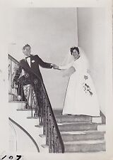 Antique Photograph Beautiful Bride and Groom Standing on Staircase