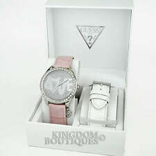 New GUESS Women's Watch 2in1 Boxed Gift Set Love Leather Crystal Logo Montre NwT