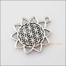 2Pcs Tibetan Silver Tone Sun Flower Charms Pendants Connectors 25x29mm