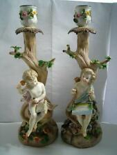 Antique german porcelain figure candlesticks C1900s