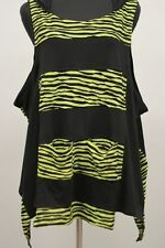 PRISA ASYM ARTSY COTTON SLEEVELESS HOODED WAVE VESTOVER TANK TOP GRN Sz 2 $299