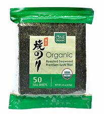 ONE ORGANIC Sushi Nori Premium Roasted Organic Seaweed (50 Full Sheets), New