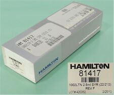 NEW HAMILTON 814717/Model 1002 LTN Syringe (2.5 mL, 22 ga)