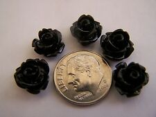 25 pcs Black Detailed Carved Rose Flower Resin Cabs Cabochons Beads