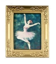 Ballet Dancer In Golden Frame, Doll House Miniature, Home Decor, Picture