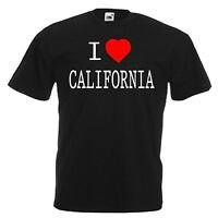 I LOVE HEART CALIFORNIA USA T-SHIRT ALL SIZES & COLOURS