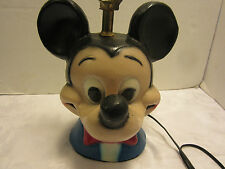 """VINTAGE MICKEY MOUSE CHALK TABLE LAMP CHALKWARE PLASTER DISNEY 19"""" tall"""