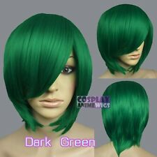 40cm Green Heat Styleable Long Bang Layer Base Cosplay Wig 65_011