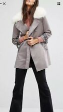 River Island Grey Faux Suede Faux Fur Collar Jacket Size 12 **sold Out***