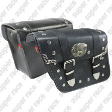 Classical Black Eagle Fits Motorcycle Motorbike PU Leather SaddleBags Side Bags