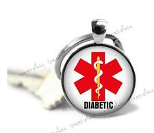 Diabetic Medical Alert Key Chain Glass Top Pendant Clip-on Keychain Key Ring