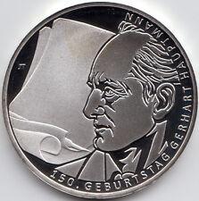 """10 Euro Gedenkmünzen 150. Geburtstag G. Hauptmann 2012 """"PP"""" 625/- Silber"""