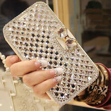 Bling Crystal Diamonds PU Leather Book Wallet Case Cover For HTC One X