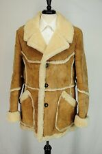 Men's Marlboro Genuine Sheepskin Shearling Coat 100% Wool Suede Leather 42