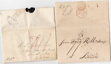 * 1824 UNPAID (IN GERMAN) & 1828 PREPAID PLYMOUTH LETTERS TO LONDON 11d POSTAGE