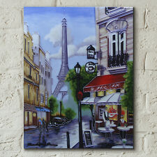 """Paris Eiffel Tower Ceramic Picture Tile Kitchen Wall Art Plaque 11x14"""" 05019"""