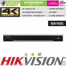 4K UHD H.265 8CH 8POE 12MP HIKVISION DS-7608NI-i2-8P NVR 80MB VCA ONVIF UK MODEL