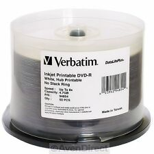 50 New Verbatim 8X White Inkjet Printable DVD-R 94854 [FREE USPS Priority Mail]