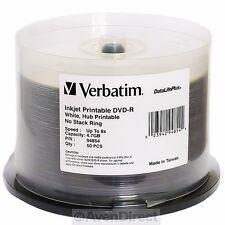 200 New Verbatim 8X White Inkjet Printable DVD-R 94854 [FREE USPS Priority Mail]