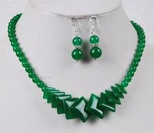 Natural Green Jade Beads Jewelry Necklace Earrings Set AAA grade
