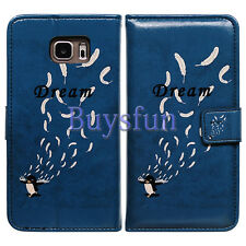Bcov Black Penguin Feather Leather Wallet Cover Case For Samsung Galaxy S5