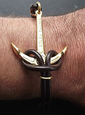 Rolex Anchor & Leather Bracelet 925 Silver Fittings dipped in 18ct Gold  12g