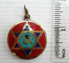 Old Tibet Tibetan Silver & Red Coral Buddhist Amulet Eternal Om & Hexagram