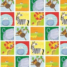 Henry Glass It's A Jungle In Here F6446 11 Animals in Squares FLANNEL BTY